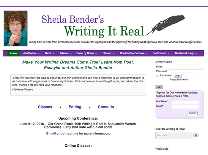 Sheila Bender's Writing It Real, Port Townsend WA